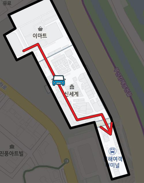 4층 지상주차장 진입 후 → 터미널 옥상주차장 이용